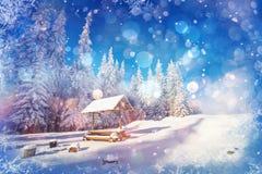Cielo estrellado en un ` fantástico s Eve del Año Nuevo Fondo del invierno con Foto de archivo