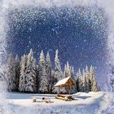 Cielo estrellado en un ` fantástico s Eve del Año Nuevo Fondo del invierno con Fotos de archivo