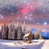 Cielo estrellado en un ` fantástico s Eve del Año Nuevo Fondo del invierno con Fotos de archivo libres de regalías