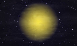 Cielo estrellado y luna grande Fotografía de archivo libre de regalías