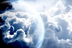 Cielo fantastico con le nuvole ed i pianeti tempestosi Fotografia Stock Libera da Diritti