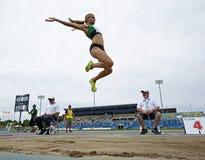 Cielo femenino Canadá del salto de longitud Foto de archivo