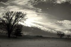 Cielo freddo sopra il prato nevoso immagini stock libere da diritti