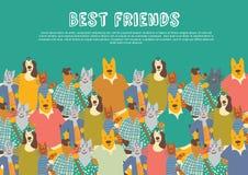 Cielo grande de los abrazos de la amistad del grupo de los amigos de los animales domésticos de los gatos y de los perros Foto de archivo
