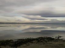 Cielo grigio di riflessione su un lago Immagine Stock Libera da Diritti