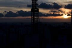 Cielo hermoso de la puesta del sol en São Pablo Imagen de archivo