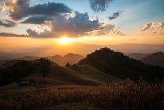 Cielo hermoso de la puesta del sol y del oro Foto de archivo