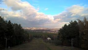 Cielo hermoso sobre la ciudad polaca fotografía de archivo