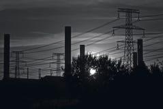 Cielo industrial de B&W foto de archivo libre de regalías