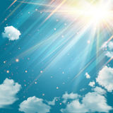 Cielo mágico con las estrellas y los rayos de la luz brillantes. ilustración del vector