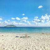 Cielo, mar y arena Fotografía de archivo libre de regalías