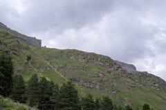 Cielo nelle nuvole e nelle colline verdi, regione del nord di Caucaso Elbrus Fotografia Stock