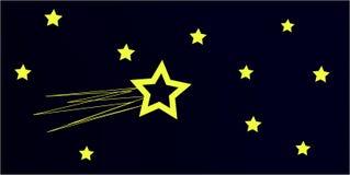 Cielo nocturno con el cometa Fotos de archivo