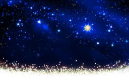 Cielo nocturno con las estrellas coloridas y la nieve blanca ilustración del vector