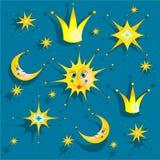 Cielo nocturno con las estrellas, el sol, la corona y la luna Fondo del bebé Ilustración del vector Fotos de archivo libres de regalías
