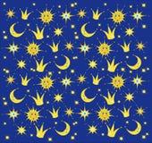 Cielo nocturno con las estrellas, el sol y la luna Fondo del bebé Ilustración del vector Imagen de archivo libre de regalías