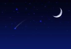 Cielo nocturno con las estrellas y el meteorito de la luna Foto de archivo libre de regalías