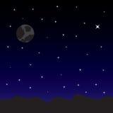 Cielo nocturno con las estrellas y la luna Foto de archivo