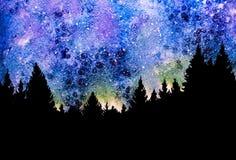 Cielo nocturno con las estrellas y los árboles Fotos de archivo libres de regalías