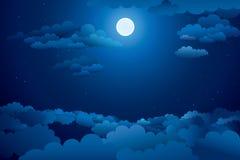 Cielo nocturno con las nubes Foto de archivo libre de regalías