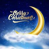 Cielo nocturno de la magia de la Feliz Navidad del vector con la nube libre illustration