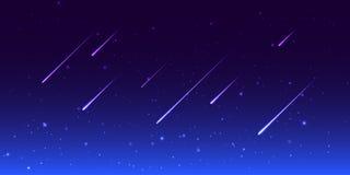 Cielo nocturno del vector con las estrellas fugaces Fotos de archivo