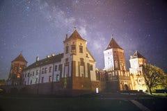Cielo nocturno estrellado en un bosque Imagen de archivo libre de regalías