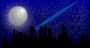 Cielo nocturno hermoso con una Luna Llena y un vuelo del meteorito sobre una ciudad en la noche libre illustration