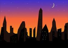 Cielo nocturno hermoso en la ciudad Imágenes de archivo libres de regalías