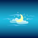 Cielo nocturno Luna, nubes y estrella Vector Imagen de archivo libre de regalías