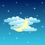 Cielo nocturno Luna, nubes y estrella Vector Fotografía de archivo