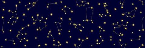 Cielo nocturno Modelo inconsútil abstracto del vector con constelaciones y muestras del zodiaco stock de ilustración