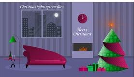 Cielo nocturno Nevado con los ornamentos verdes, blancos y rojos de la Navidad del oirigami fotografía de archivo libre de regalías