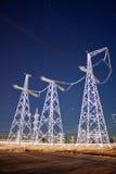 Cielo nocturno y cables Fotografía de archivo