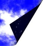 Cielo nocturno y día asoleado Fotografía de archivo