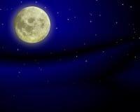 Cielo notturno con la luna Fotografia Stock