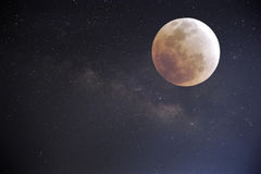 Cielo notturno con la luna piena Fotografie Stock