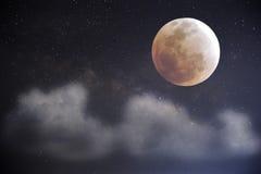 Cielo notturno con la luna piena Fotografia Stock