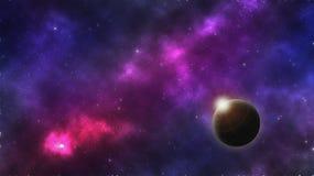 Cielo notturno con le galassie Fotografia Stock