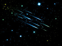 Cielo notturno con le stelle cadenti Fotografia Stock