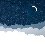 Cielo notturno con le stelle e la mezzaluna m. Immagine Stock Libera da Diritti