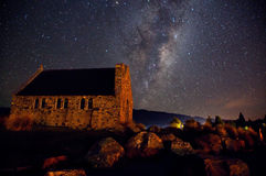 Cielo notturno del lago Tekapo, Nuova Zelanda Fotografia Stock Libera da Diritti