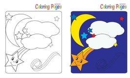 Cielo notturno del libro da colorare Fotografia Stock