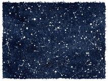 Cielo notturno dell'acquerello con le stelle ed i bordi approssimativi Fotografia Stock Libera da Diritti