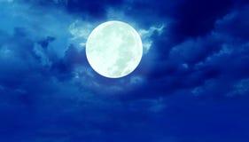 Cielo notturno della luna piena Fotografia Stock