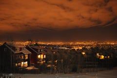 Cielo notturno fantastico sopra Oslo Fotografia Stock Libera da Diritti