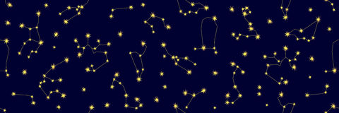 Cielo notturno Modello senza cuciture astratto di vettore con le costellazioni ed i segni dello zodiaco Fotografie Stock