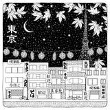 Cielo notturno sopra Tokyo Immagine Stock Libera da Diritti