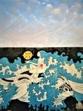 Cielo, nubes, sirena, cuento de hadas e inspiración imagen de archivo