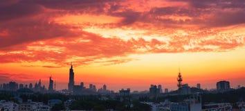 Cielo nublado en la puesta del sol Imagen de archivo